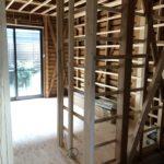 京都市山科区S様邸1階・2階全面改修工事~大工工事始まりました!小上がりタイプの畳スペース!小上がりの下部分は収納となっています!~